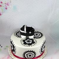 Black and white baby shower cake