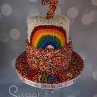 Rainbow sprinkle explosion
