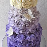Purple Ombre Buttercream Rosette Cake