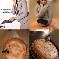 Peach pearl ruffle cake by Mary Yogeswaran
