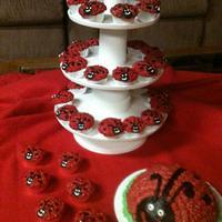 Lady Bug Smash cake and mini cupcakes