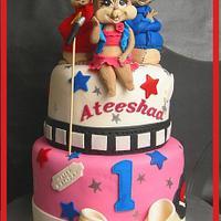 Chipmunks: Alvin, Simon & Britany Cake for Ateeshaa ~ by Mel_SugarandSpiceCakes