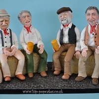 """The Wurzels"" cake topper & cake (cider apples in cart)"
