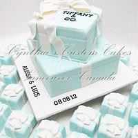 """Tiffany"" inspired engagement cake by Cynthia Jones"