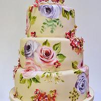 Hydrangea and birds cake