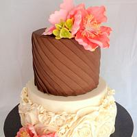 Chocolate and Ivory Wedding cake .