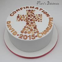 Copper and Gold Confirmation Cake