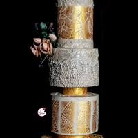 Gold & Beige Wedding Cake