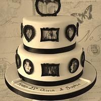 Vintage Picture Frames 21st Birthday Cake
