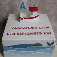 Sailboat Christening Cake.