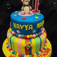 2 tier Bear Fondant Cake