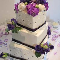 Purpe & White Wedding Cake