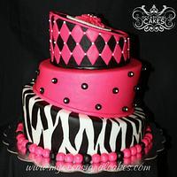 Pink & Black Topsy-Turvy Cake