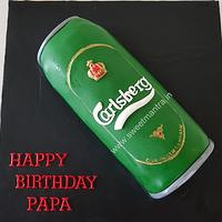 Carlsberg beer can shaped theme designer fondant 3D cake for dad's birthday