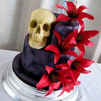 Purple Gothic & Skull Wedding Cake