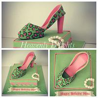 Leopard skin shoes cake