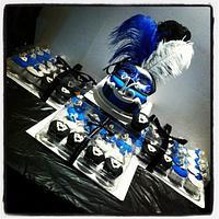 Sweet 16 Masquerade cake and cupcakes