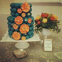 Teal and Orange cake ball cake