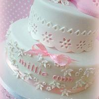 Baby Shoes - Christening Cake by Clairella Cakes
