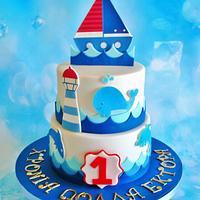 Nautical birthday cake for a little sailor.