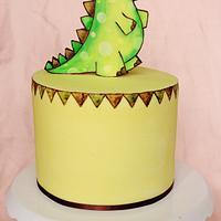 Hand painted dinosaur cake