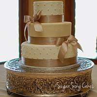 taupe satin bow wedding
