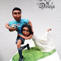Blue bulls Bride and Groom cake topper