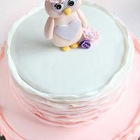 Pretty Pink Ruffle Owl Cake by Guilt Desserts