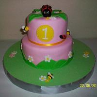 First year old, bee and ladybug cake