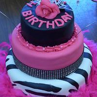 Pink & Black Wild One Cake