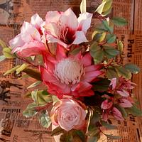 bouquet with amaryllis & protea