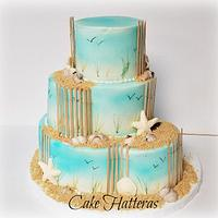 Hand Painted Beach Wedding Cake