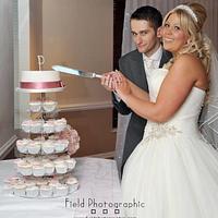 Shabby Chic Wedding Cake/Cupcakes by Kelly Castledine - Kelly's Cakes & Tasty Bakes