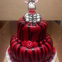 Red and Black Zebra Cake