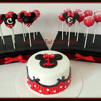Minnie Mouse pops and smash cake
