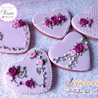 Set Wedding purpple hearts