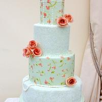 Painted birdcage and lace cake