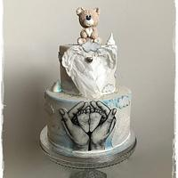 Hand painted christening cake