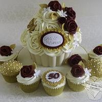 Golden Wedding Anniversary Giant Cupcake