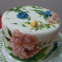 hand painted cake - peonies
