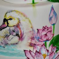 Hand painted swans