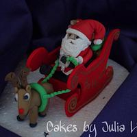 Father Christmas, Rudolph & Sleigh Topper