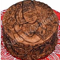 Wooden carving cake