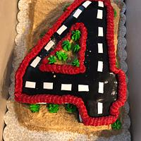 Number 4 race track cake