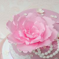 Vintage Birthday Cake with Wafer Paper Peony and Lace