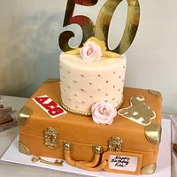 Travel theme birthday cake