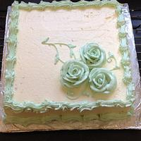 First square buttercream cake