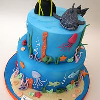 2 Tier Marine / Underwater Themed Cake