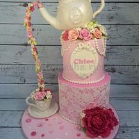 Lace, pearls, and tea cake