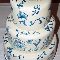Blue China Wedding Cake